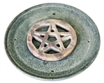 "Wholesale Black Soapstone Pentacle Incense Burner 4""D"