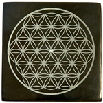 "Wholesale Black Soapstone Flower of Life Incense Burner 4""x 4"""