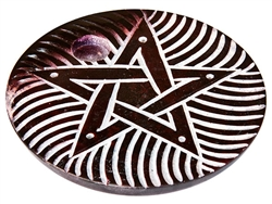 "Wholesale Brown Soapstone Pentacle Incense Burner 4""D"
