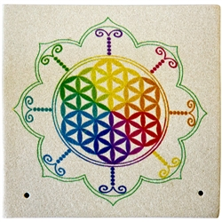 "Wholesale Sandstone Flower of Life Incense Burner 4""x 4"""