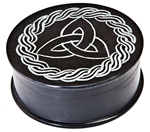 "Wholesale Triquetra with Celtic Knot Black Soapstone Box 4""D, 2""H"