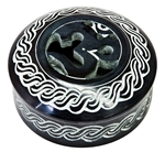 "Wholesale Om with Celtic Knot Black Soapstone Box 4""D, 2""H"