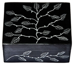 "Wholesale Tree of Life Black Soapstone Box 4""x4"""
