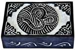 "Wholesale Om with Celtic Knot Black Soapstone Box 4""x6"""