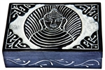 "Wholesale Buddha with Celtic Knot Black Soapstone Box 4""x6"""
