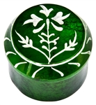 "Wholesale Floral Green Soapstone Box 2.5""D, 2""H"