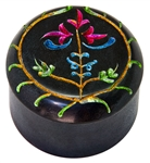 "Wholesale Floral Black Soapstone Box 2.5""D, 2""H"