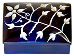 "Wholesale Floral Blue Soapstone Box 2""x3"""
