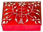 "Wholesale Floral Red Soapstone Box 3""x4"""