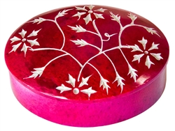 "Wholesale Floral Pink Soapstone Box 3""x4"""