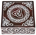 "Wholesale Triquetra with Celtic Knot Brown Soapstone Box 5""x5"""
