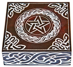 "Wholesale Pentacle with Celtic Knot Brown Soapstone Box 5""x5"""