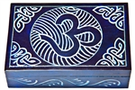 "Wholesale Om with Celtic Knot Blue Soapstone Box 4""x6"""