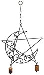 "Wholesale Crescent Moon Pentacle Windchime 20""L"