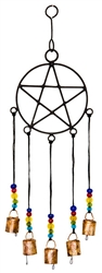 "Wholesale Pentacle with Beads Windchime 18""H"