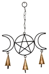 "Wholesale Triple Moon Pentacle Windchime 15""H, 10""W"