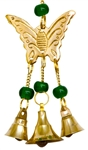 "Wholesale Butterfly Brass Wind Chime With Beads 9""L"