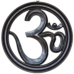 "Wholesale Om Wood Wall Hanging - Black 15""D"