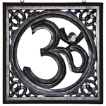 "Wholesale Om Hand Carved Wood Wall Hanging - Black 12""X12"""