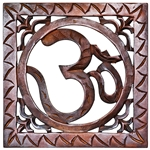 "Wholesale Om Hand Carved Wood Wall Hanging - 10""X10"""