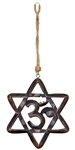 "Wholesale 6 Point Star Om Wood Wall Hanging with Hemp Cord  - 6""X6"""