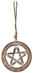 "Wholesale Pentacle Wood Wall Hanging with Hemp Cord - 5""D"