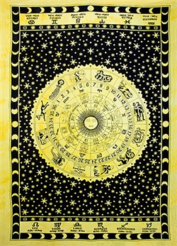 "Wholesale Astrological Tapestry 72""x 108"" (Yellow)"