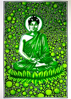 "Wholesale Buddha Tapestry 84""x 103"" (Green)"