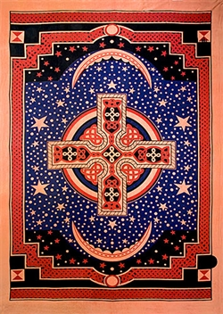 "Wholesale Celtic Cross Tapestry 76""x 106"" (Red)"