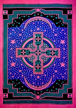"Wholesale Celtic Cross Tapestry 75""x 105"" (Turquoise)"
