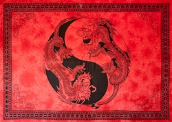 "Wholesale Yin-Yang Dragon Tapestry 72""x 108"" (Red)"