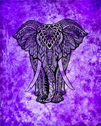 Wholesale Elephant Tapestry 69'x108' (Purple)