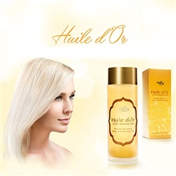 Huile d'Or ALL in ONE High End Premium Hair Face & Body Moisturizing Gold Shimmer Instant Leave-in Oil Damaged Hair Repair