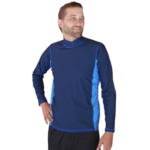 UV Protective Men's Long Sleeve Rash Guard in Navy/Light Blue from Sun Protection Zone