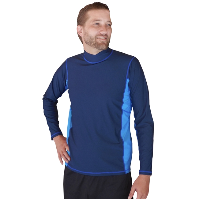 MEN'S LONG SLEEVE RASH GUARD - NAVY/LIGHT BLUE