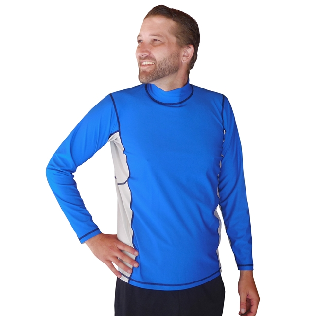 UV Protective Men's Long Sleeve Rash Guard in Sea Blue/Ice Grey from Sun Protection Zone