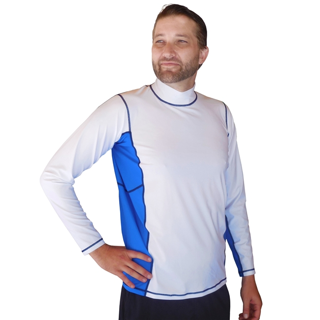 MEN'S LONG SLEEVE RASH GUARD - WHITE/SEA BLUE