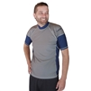 MEN'S SHORT SLEEVE RASH GUARD - SILVER/NAVY