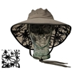 UV Protective Adult Booney Hat with Palm Print in Charcoal with Black Trim from Sun Protection Zone