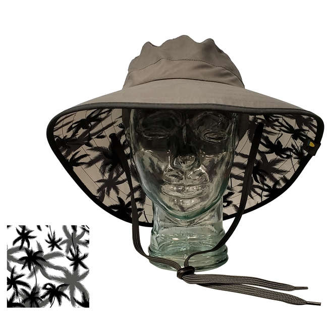 ADULT BOONEY HAT WITH PALM PRINT - CHARCOAL/BLACK TRIM