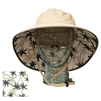 ADULT BOONEY HAT WITH PALM PRINT - KHAKI/OLIVE TRIM