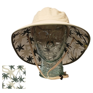 67064ab112d35 ADULT BOONEY HAT WITH PALM PRINT - KHAKI OLIVE TRIM