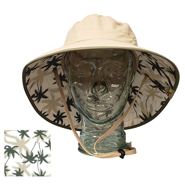 UV Protective Adult Booney Hat with Palm Print in Khaki with Olive Trim from Sun Protection Zone