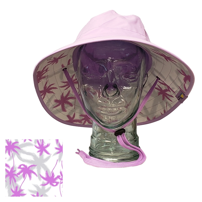 UV Protective Adult Booney Hat with Palm Print in Lilac from Sun Protection Zone
