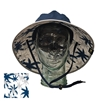 ADULT BOONEY HAT WITH PALM PRINT - NAVY/SILVER TRIM