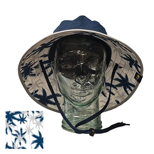 UV Protective Adult Booney Hat with Palm Print in Navy with Silver Trim from Sun Protection Zone