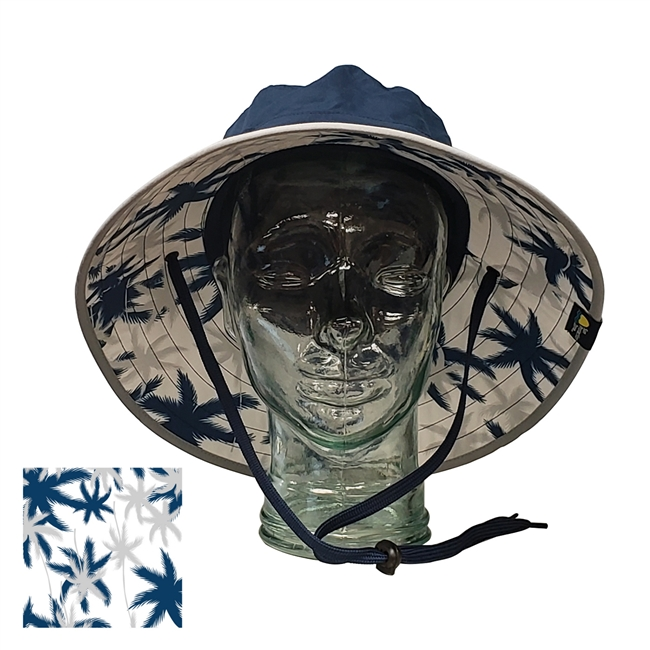 750e49f689c7b Adult Booney Hat With Palm Print - Navy Silver Trim