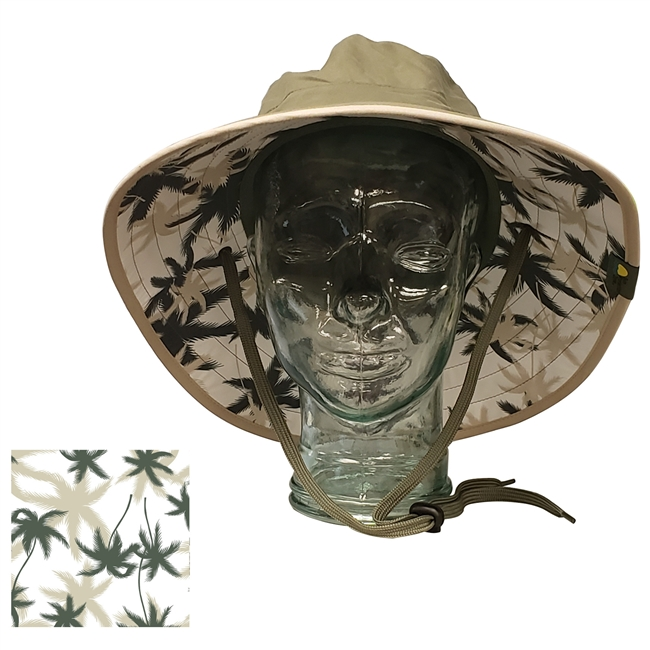 ADULT BOONEY HAT WITH PALM PRINT - OLIVE/KHAKI TRIM