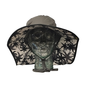 UV Protective Adult Floppy Hat with Palm Print in Charcoal with Black Trim from Sun Protection Zone