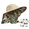 ADULT FLOPPY HAT WITH PALM PRINT - KHAKI/OLIVE TRIM